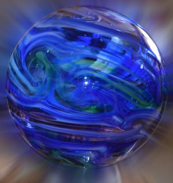 blue glassblowing art