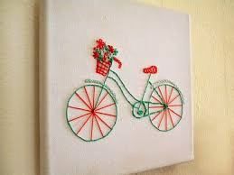 canvas embroidery bicycle